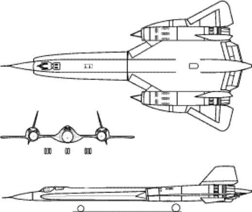 "each engine inlet and exited through the engine nozzles. Three-view of YF-12A. Three-view of ""YF-12C."" The"