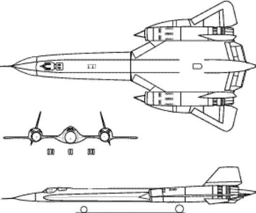 "and exited through the engine nozzles. Three-view of YF-12A. Three-view of ""YF-12C."" The YF-12 carried a"