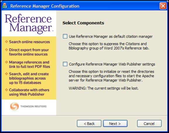 "to ""Configure Reference Manager components for me."" 4. Select the ""Use Reference Manager as default citation"