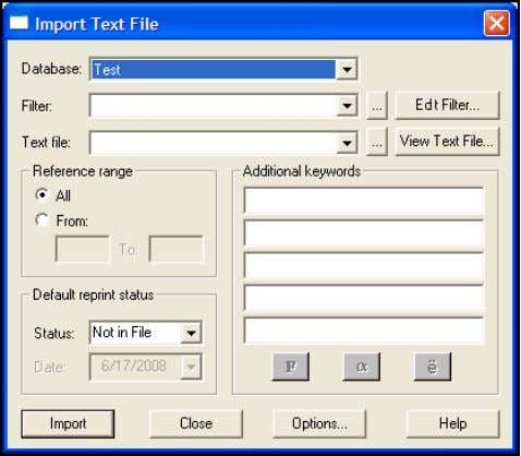 open.) 2. From the File menu, choose Import Text File . 3. On this dialog, set