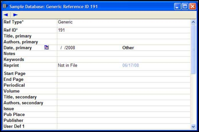 Sample database. 2. From the Reference menu, choose New . 3. Click in the Reference Type