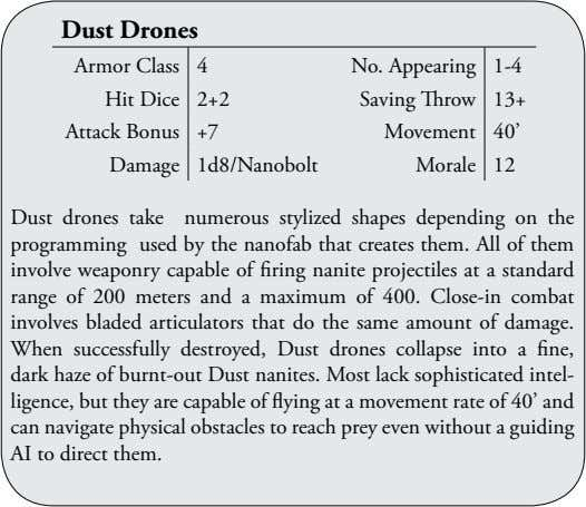 Dust Drones Armor Class 4 No. Appearing 1-4 Hit Dice 2+2 Saving Throw 13+ Attack