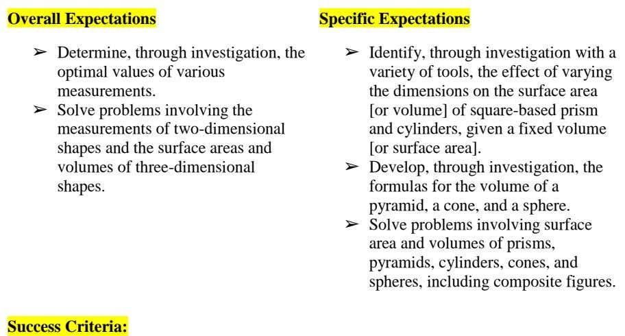 Overall Expectations Specific Expectations ➢ Determine, through investigation, the optimal values of various