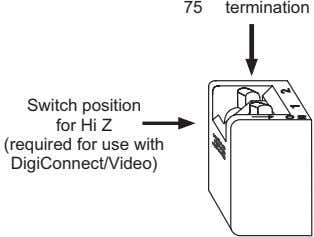 75 termination Switch position for Hi Z (required for use with DigiConnect/Video) O O 1