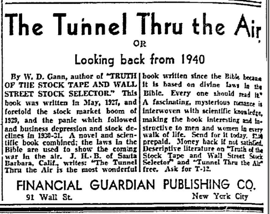 W. D. Gann on Advertisement for Gann's novel in the Dallas (TX) Morning News, May 31,