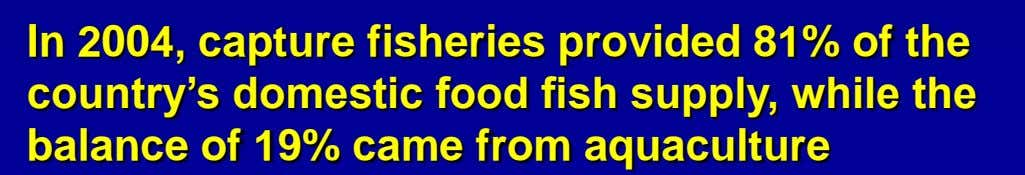 In 2004, capture fisheries provided 81% of the country's domestic food fish supply, while the