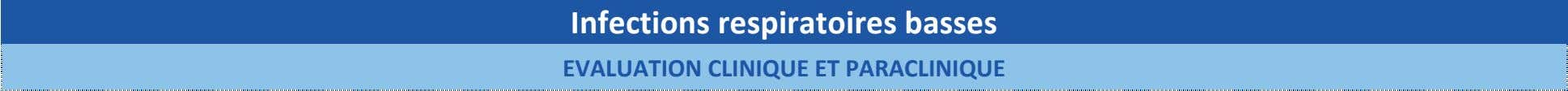 Infections respiratoires basses EVALUATION CLINIQUE ET PARACLINIQUE
