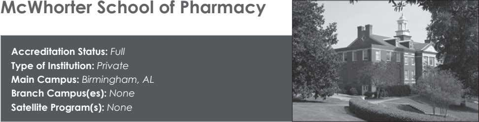 McWhorter School of Pharmacy Accreditation Status: Full Type of Institution: Private Main Campus: Birmingham, AL Branch