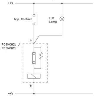 TCS Fig 6 - Relay PQ8nC2JW coil supervision with LED lamp Fig 8 - Relay PQ8nCH2J