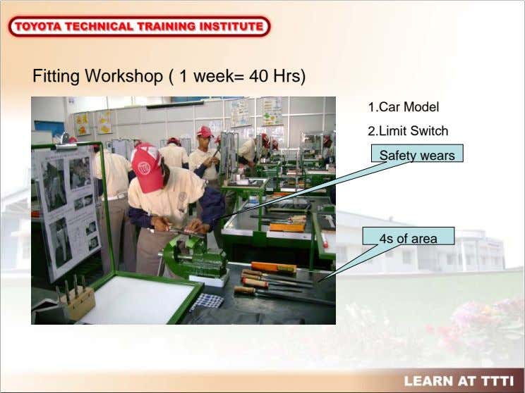 Fitting Workshop ( 1 week= 40 Hrs) 1.Car Model 2.Limit Switch Safety wears 4s of