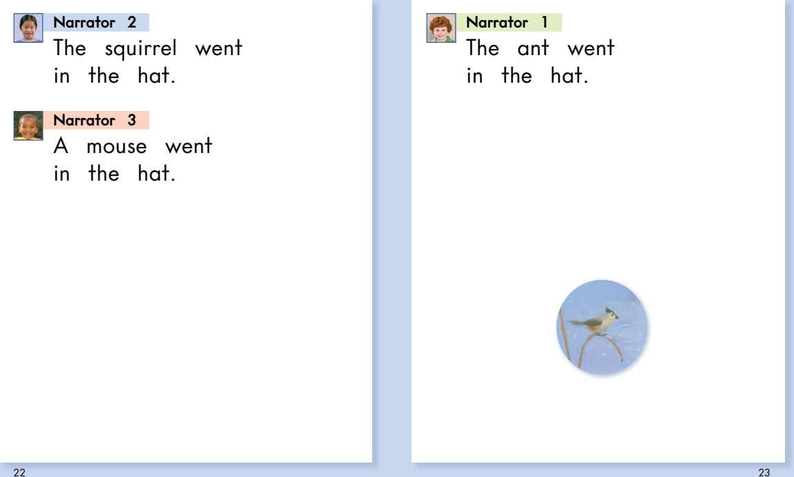 Narrator 2 Narrator 1 The squirrel went The ant went in the hat. in the