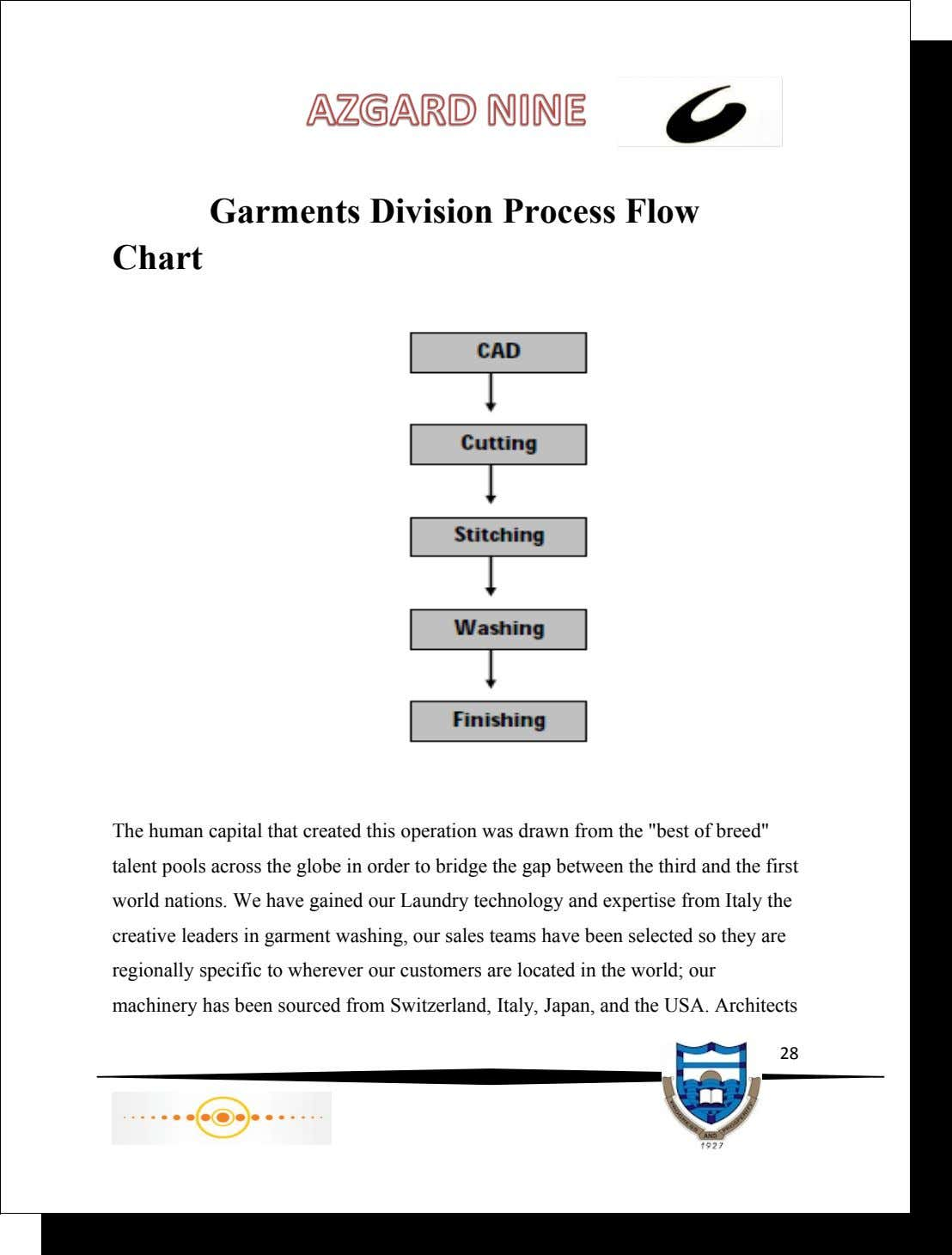Garments Division Process Flow Chart The human capital that created this operation was drawn from