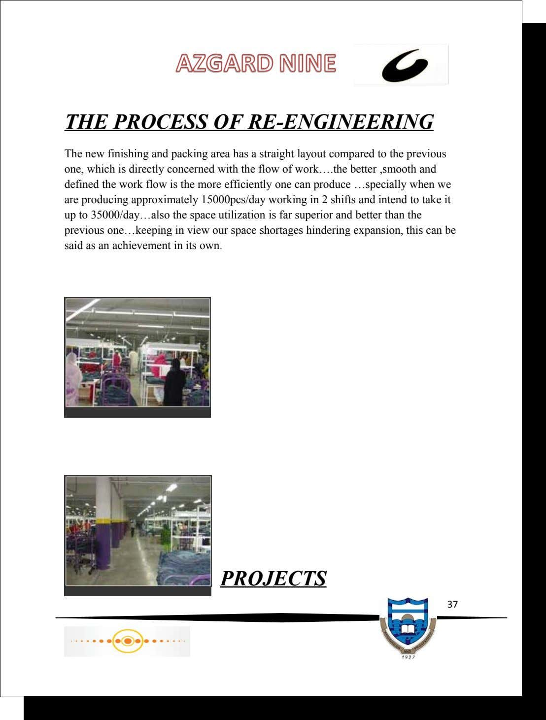 THE PROCESS OF RE-ENGINEERING The new finishing and packing area has a straight layout compared