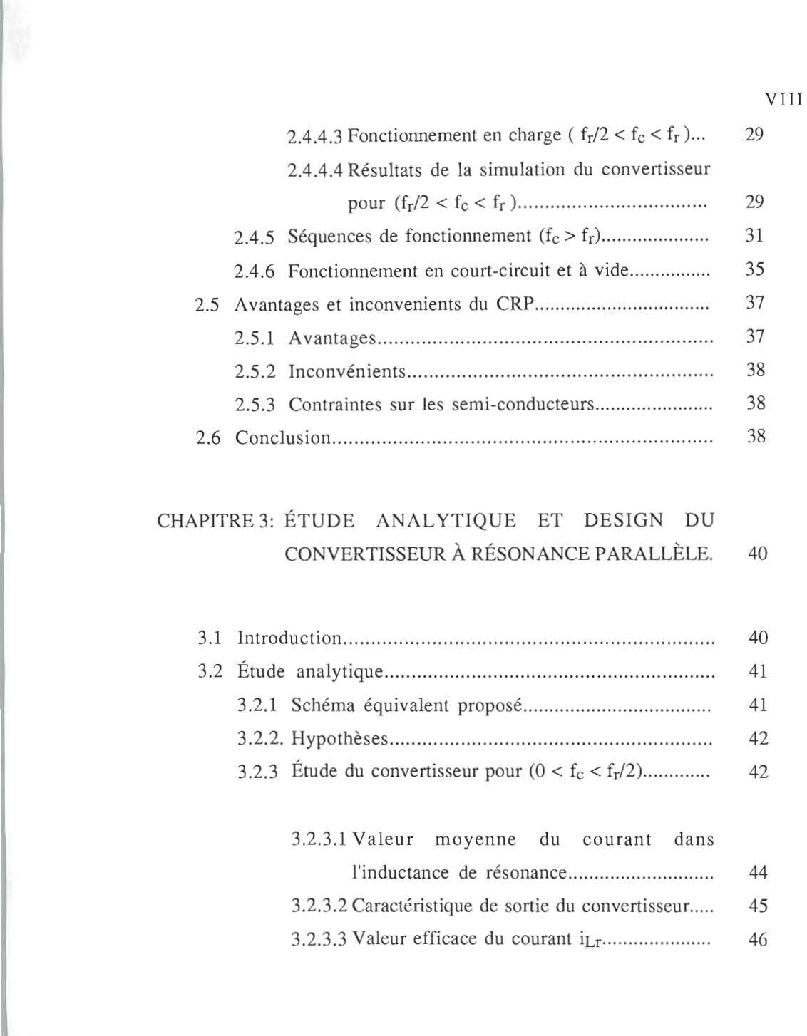 VIII 2.4.4.3 Fonctionnement en charge ( f r /2 < fe < fr ) 29