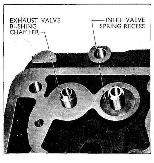 Fig. 9 Short Exhaust Valve Guide and Spring Recess The faces of the collets which