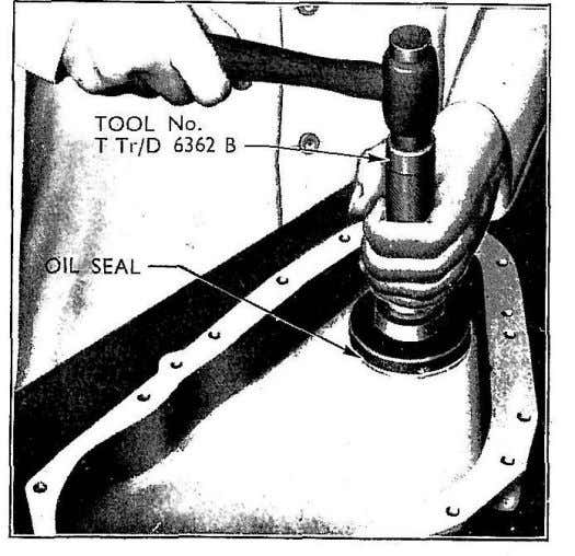 at the same time locating its rear end in the sump bracket. Fig. 32 Fitting Crankshaft