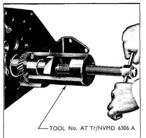 Fig. 35 Removing Crankshaft Gear 3 Replace the auxiliary drive shaft gear making sure that