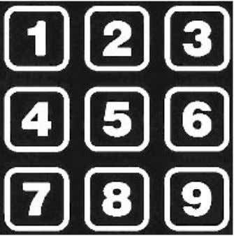 Key buttons used for UP and DOWN movement of selection. Number keys for entering codes and
