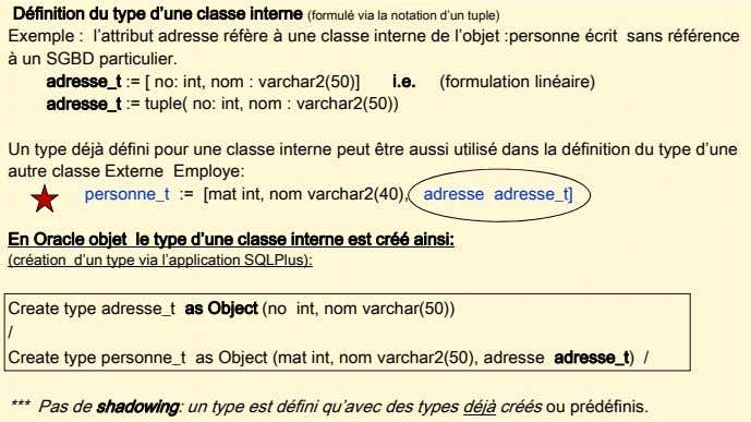 Définition du type d'une classe interne (formulé via la notation d'un tuple) Exemple : l'attribut