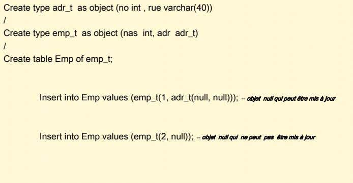 Create type adr_t as object (no int , rue varchar(40)) / Create type emp_t as