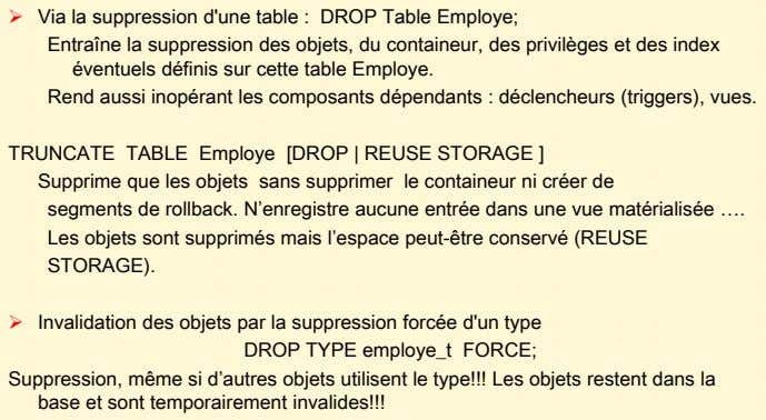  Via la suppression d'une table : DROP Table Employe; Entraîne la suppression des objets,