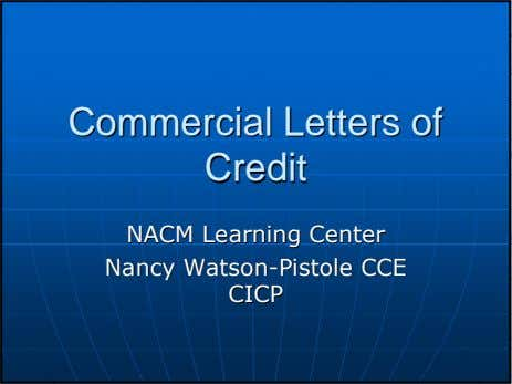 CommercialCommercial LettersLetters ofof CreditCredit NACMNACM LearningLearning CenterCenter NancyNancy