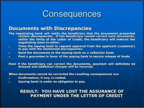 ConsequencesConsequences DocumentsDocuments withwith DiscrepanciesDiscrepancies TheThe negotiatingnegotiating bankbank