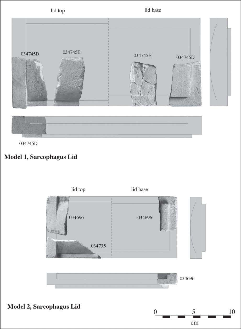 Fig. 2: Lid fragments associated with larger format (Model 1) and smaller format (Model 2)