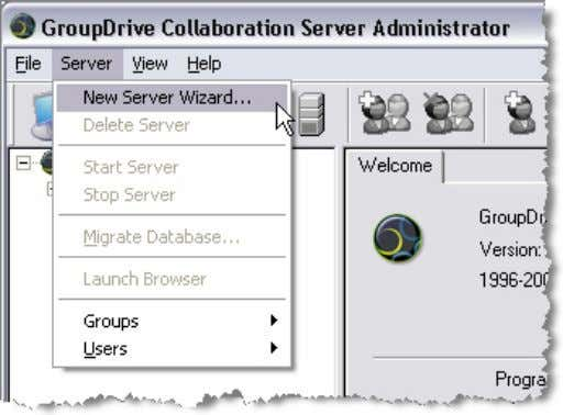 GroupDrive Administrator Users Guid e, Version 4, Revision 1.0, 02/2006 Creating a New Server Launching the