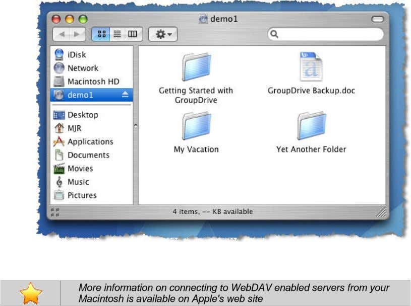 More information on connecting to WebDAV enabled servers from your Macintosh is available on Apple's web