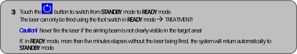 3) Touch the button to switch from STANDBY mode to READY mode. The laser can