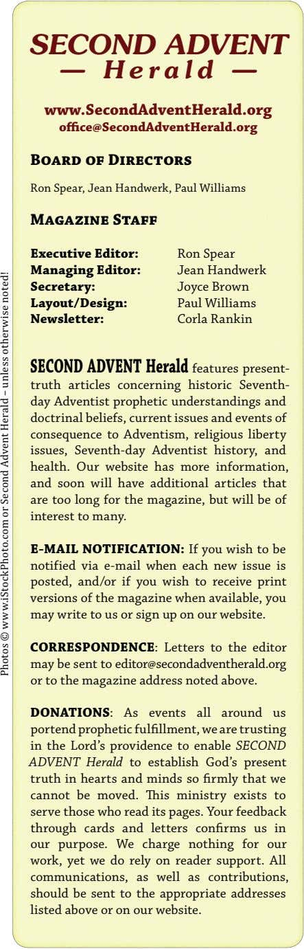SECOND ADVENT — Herald — www.SecondAdventHerald.org office@SecondAdventHerald.org Board of Directors Ron Spear,