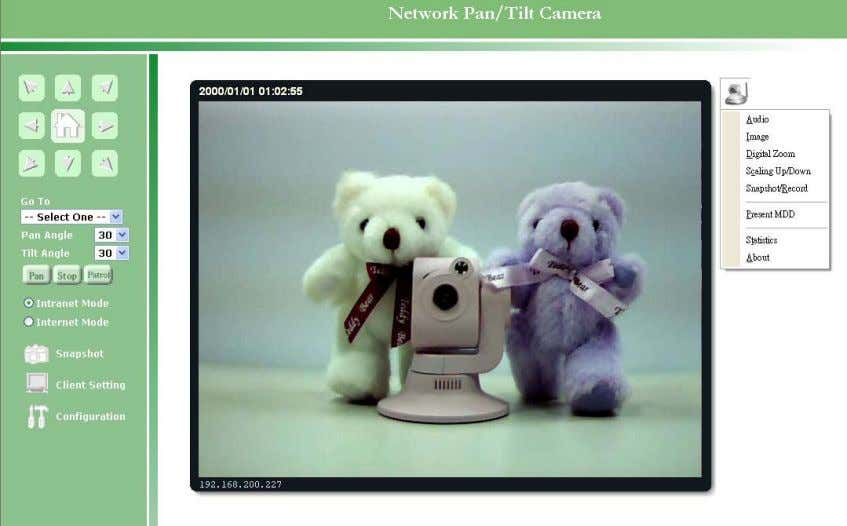 type of the Network Camera and the current date/time. View capabilities: Press the icon of the