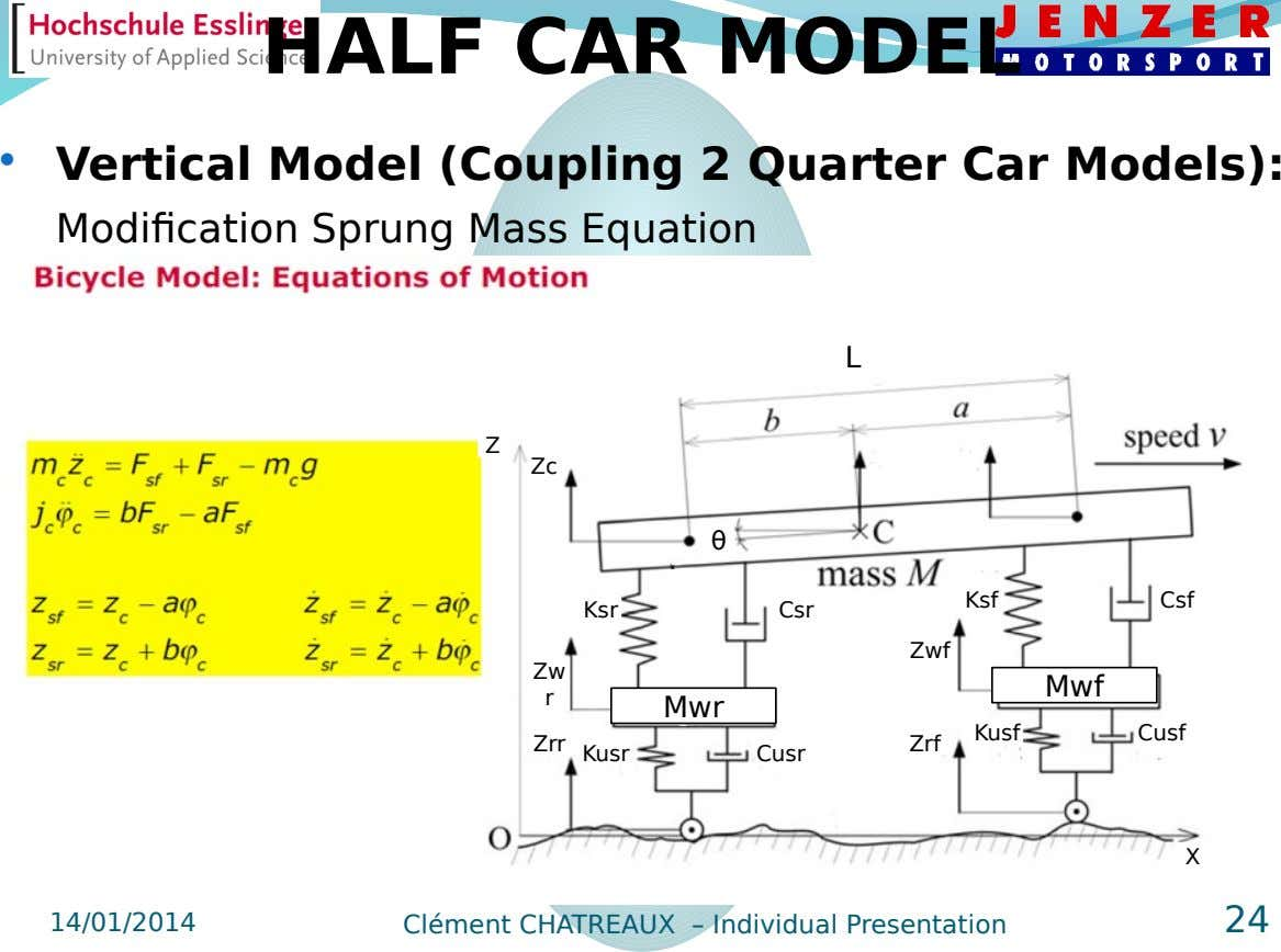 HALF CAR MODEL  Vertical Model (Coupling 2 Quarter Car Models): Modification Sprung Mass Equation L