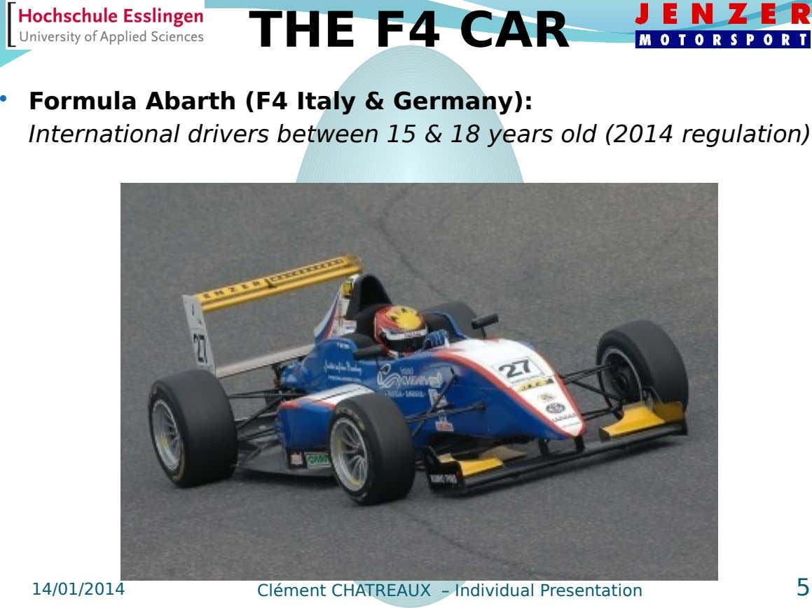 THE F4 CAR  Formula Abarth (F4 Italy & Germany): International drivers between 15 & 18