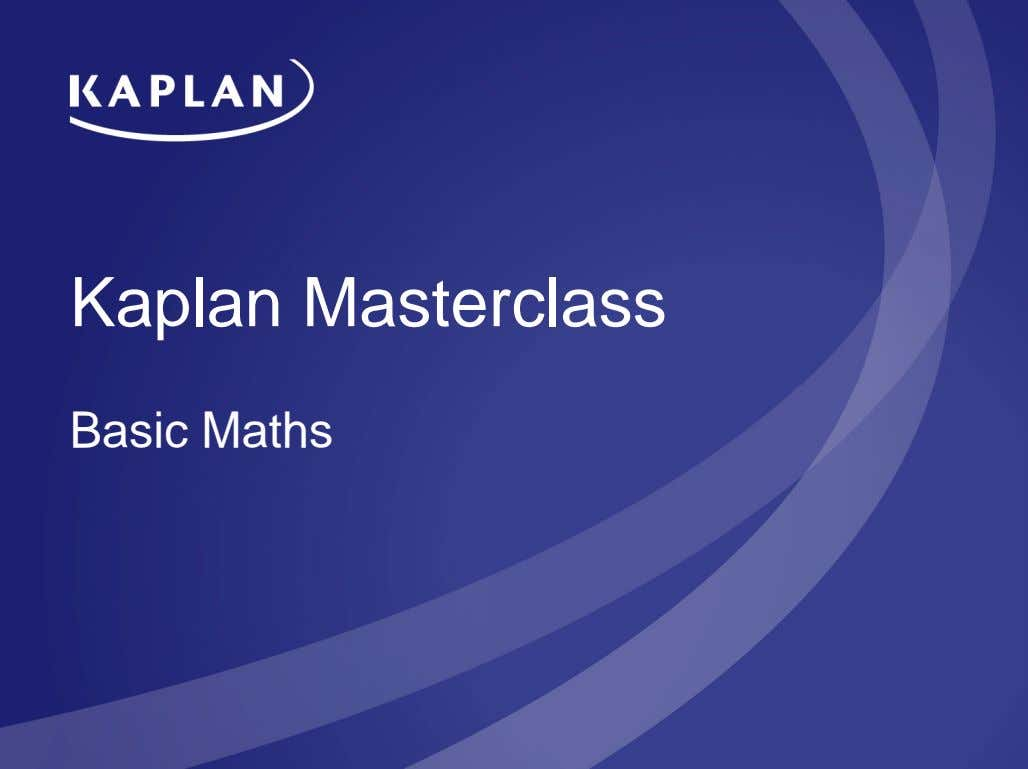 Kaplan Masterclass Basic Maths
