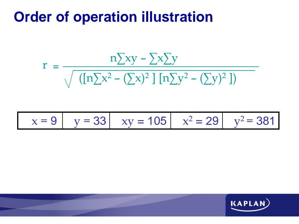 Order of operation illustration = ∑ 9 ∑ ∑ 33 ∑ ∑ ∑ = 105