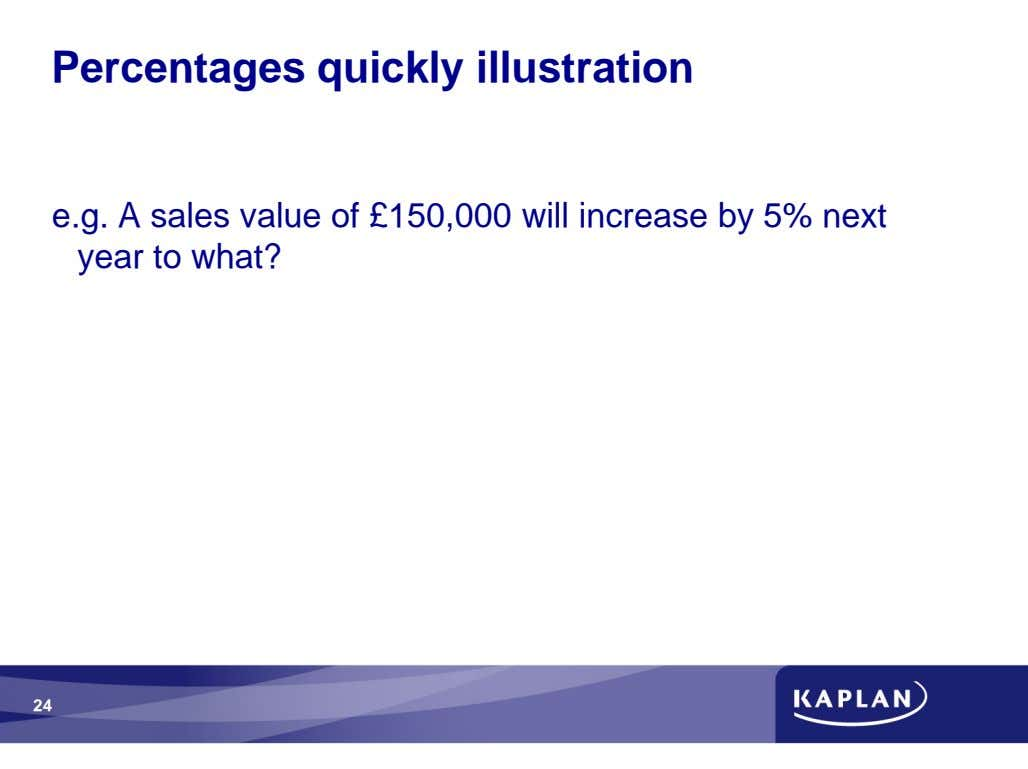 Percentages quickly illustration e.g. A sales value of £150,000 will increase by 5% next year