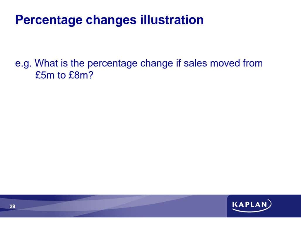 Percentage changes illustration e.g. What is the percentage change if sales moved from £5m to