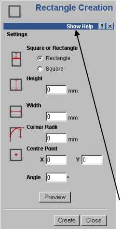 or Vector toolbar , select the Create Rectangle icon. The rectangle creation page appears, showing the