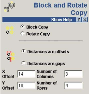 the block copy icon from Vector Editing on the Assistant. The Block and Rotate Copy form