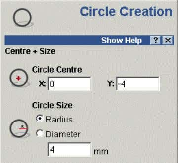 circles merged together. • Click on the circle icon. The Circle Creation form appears in the