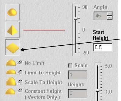 Double Click on the vector to bring up the Shape Editor . A flat plane shape