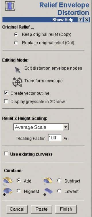 - Relief Editing select Relief Envelope Distortion . The Relief Envelope Distortion page appears. Also the