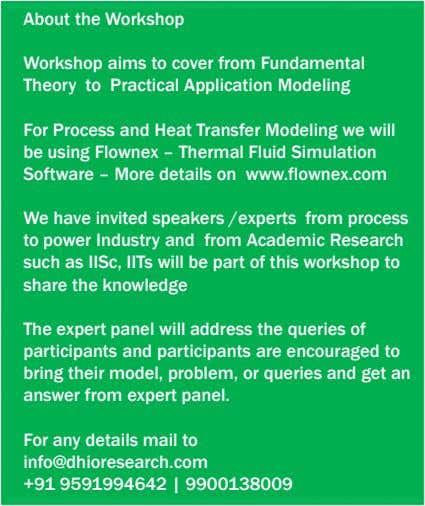About the Workshop Workshop aims to cover from Fundamental Theory to Practical Application Modeling For