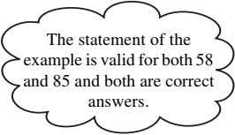 The statement of the example is valid for both 58 and 85 and both are