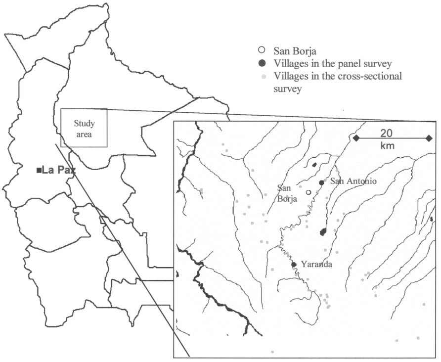 652 F current anthropology Fig. 1. Bolivia and the study area, showing the market town (San