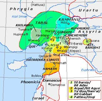 at modern Karatepe ) • Gur g um • Kummuh Historical map of the Neo-Hittite states,