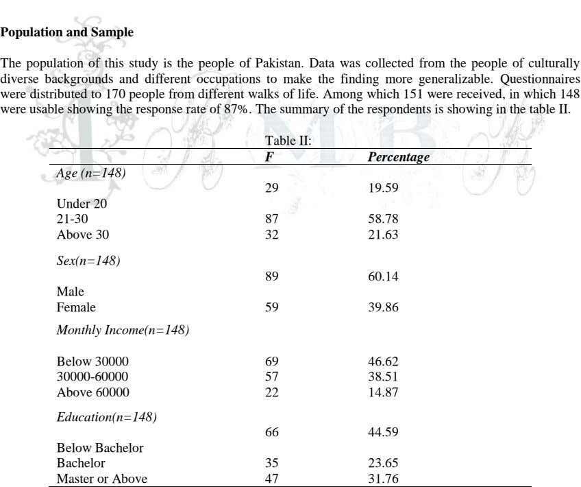 Population and Sample The population of this study is the people of Pakistan. Data was