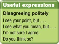 Useful expressions Disagreeing politely I see your point, but I see what you mean, but